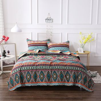 DaDa Bedding Southwestern Aztec Bohemian Desert Tribal Quilted Bedspread Set (1048)