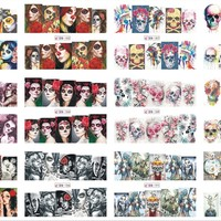 12 Sheets/Lot Nail BN181-192 Voodoo Girl Flower Skull Full Cover Nail Art Water Wraps Sticker Decal For Nail (12 DESIGNS IN 1)