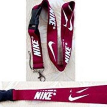 CREYON Nike Lanyard Keychain Holder Maroon Red with White