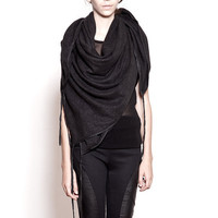Square Scarf with Washed Leather Binding
