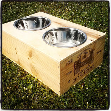 Up cycled Wine Crate Dog Feeding Station
