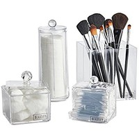 4 Piece Acrylic Vanity Storage Organizer Set for Makeup, Cosmetics, Accessories & Toiletries: Bathroom, Bedroom, Home Organization - Clear