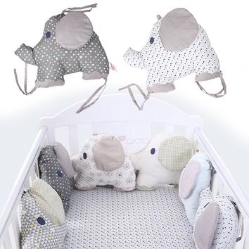 6 Pcs Set Crib Padding Bumper Baby Bedding Creative Pillow Embroidered Printed Cotton Elephant Cushion