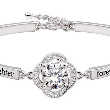"Jewelry Sterling Silver ""always my daughter forever my friend"" Cubic Zirconia Bracelet"