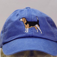 BEAGLE DOG HAT - One Embroidered Men Women Cap - Price Embroidery Apparel - 24 Color Caps Available