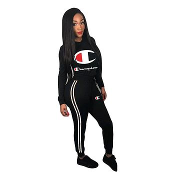 Champion women's solid color wild sports sweater two-piece Black