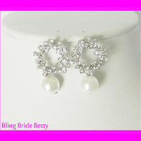 Special Bridal Earrings W Crystals and White Faux Pearl, Silver Tone
