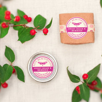 Berry Lip Balm, All Natural - Sweet Cream & Berries - Warm Vanilla, Strawberry, and Blackberry
