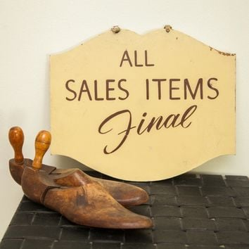 Vintage 1940s Store Sign All Sales Final