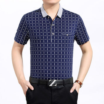 Summer Short Sleeve Men Plaid Cotton Pullover Tops T-shirts [6544068995]