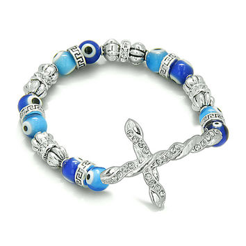 Amulet Evil Eye Protection Cross Charm Spiritual Powers Bracelet Cute Blue Glass and Cute Crystals Beads