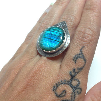 OOAK Labradorite Sterling Handmade Ring~Mermaid Attire