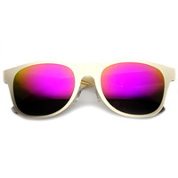 Modern Laser Cut Flat Metal Horned Rim Mirror Lens Sunglasses 9735