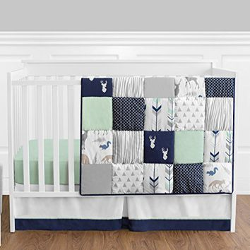 Navy Blue Mint And Grey Woodsy Deer Boys Baby Bedding 4 Piece Crib Set Without