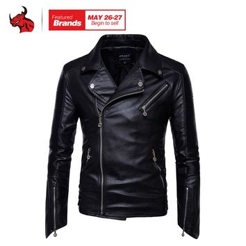 Motorcycle Jackets Men Vintage Retro PU Leather Jacket Punk Classical Windproof Coat Biker Faux Leather Moto Jacket