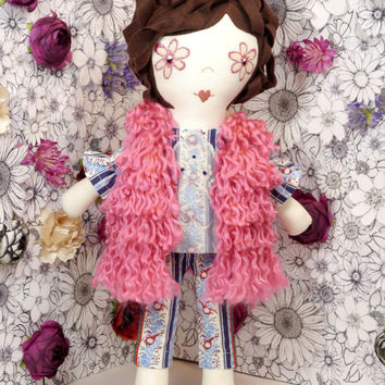Handmade one of a kind 18 inch fabric flower power doll
