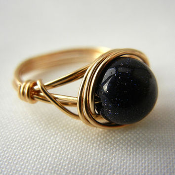 Blue Goldstone Ring, Wire Wrapped Jewelry Handmade, Goldstone Jewelry, Wire Wrap Ring, Sparkle, Glitter, Shimmer