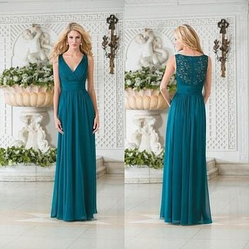 2017 Cheap Jasmine Vintage V Neck Teal Green Chiffon Plus Size Long Bridesmaid Dresses A Line Lace Hollow Back Bridesmaid Gowns