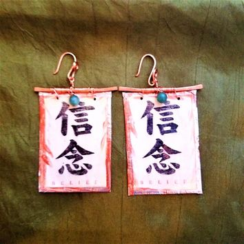 Belief Kanji Dangle Earrings