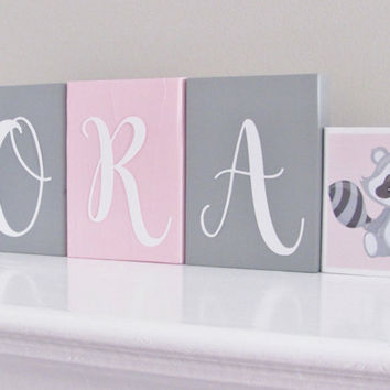 Baby Name Blocks, Raccoon, Fox, Baby Girl Nursery, Name Blocks, Pink Gray, Baby Girl, Baby Gift, Baby Shower, Nursery Letters Photo Prop