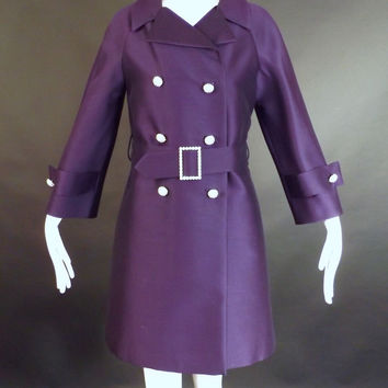 1960s Purple Alaskine Dress & Coat Ensemble, Bust-36
