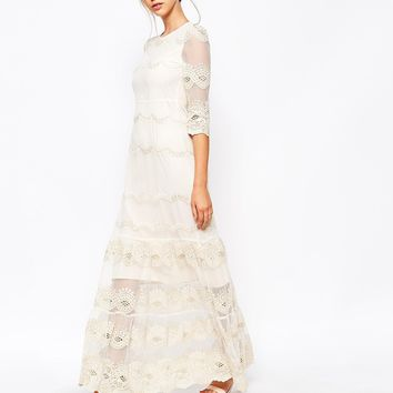 Soma London Vintage Scallop Lace Maxi Dress
