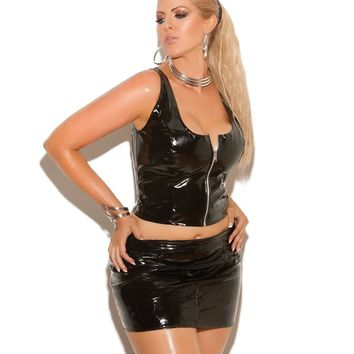 Plus Size Vinyl pencil skirt with back zipper  Black