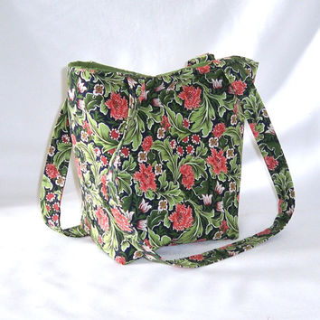 Floral Purse, Small Tote Bag, Handmade Handbag, Fabric Bag, Green, Coral, Orange, Carnations, Flowers, Shoulder Bag