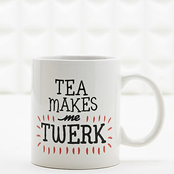 Tea Makes Me Twerk Mug in White - Urban Outfitters