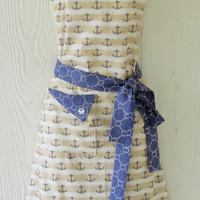 Anchor Apron, Nautical Theme, Seaman's Knots, Retro Style Apron, KitschNStyle