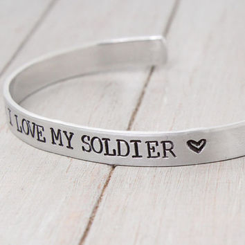 I Love My Soldier Cuff, handstamped cuff, Soldier Jewelry, Personalized Bracelet, Military Spouse, Personalized Jewelry, Army Wife Cuff