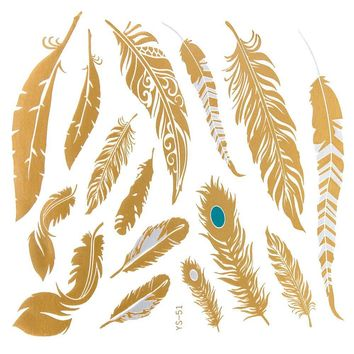 *The Feather Tattoo Series- Goldtone