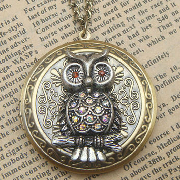 Steampunk  Owl Locket Necklace b Vintage Style by sallydesign