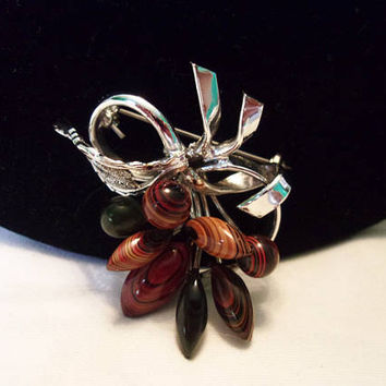 Faux Agate Stone Flower Vintage Estate Brooch Bead Silver Plate Pin 1960's