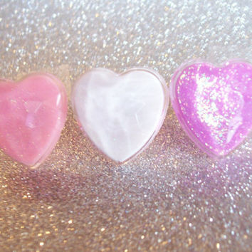 Sweet Pastel Glitter Resin Heart Ring