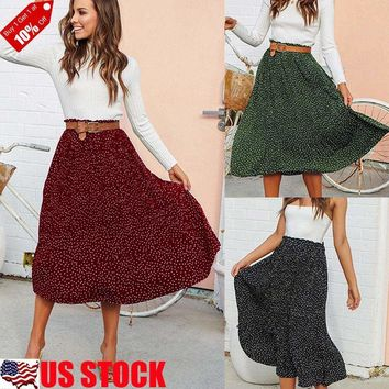 Women Ladies Boho Polka Dot High Waist Skater Swing Flared Long Midi Skirt Dress