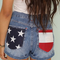 American flag pockets highwaisted shorts