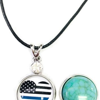 "USA Flag America Heart Officer Thin Blue Line Snap on 18"" Leather Rope Diamond Pendant Necklace W/ Extra 18MM - 20MM Snap Charm"