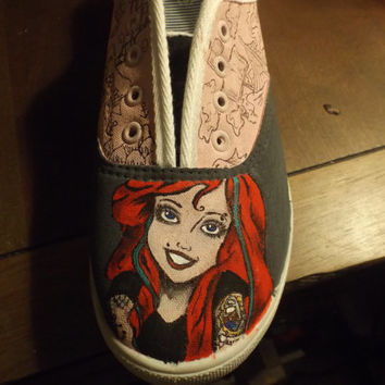 the little mermaid ariel punk hand painted shoe