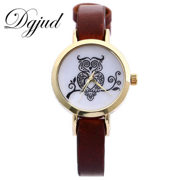 Womens Owl Pattern Watch with Fine Leather Strap and Gold detail