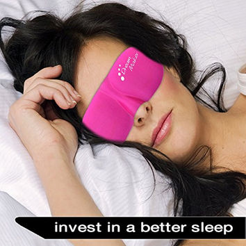 Sleep Mask - New Design by DREAM MAKER® - Anti-Aging (Ultra Soft PINK) Eye Mask for Sleeping, Contoured Eyemask Silk Blindfold with Ear Plugs Travel Pouch, Best Night Blinder Eyeshade - Men Women Kids