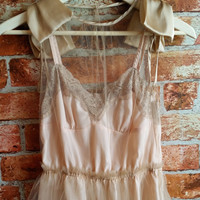 Upcycle Romantic Champagne Tulle Bow Dress with Pale Pink Lace Insert Slip
