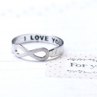 I LOVE YOU Infinity Ring in silver