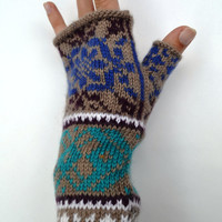 Knit Fingerless Gloves - Women Fingerless Gloves - Gift  - Bohemian Fingerless Gloves - Knit Gloves  nO 17.