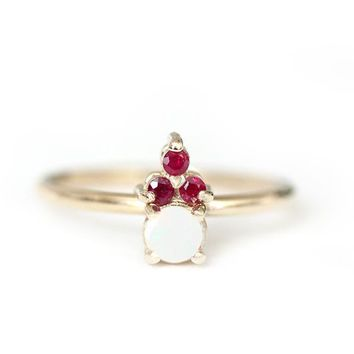 14k opal and ruby crown ring