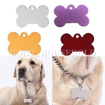 2/10X Puppy Pet Dog Cat Small Stainless Bone ID Name Card Collar Personality Tag