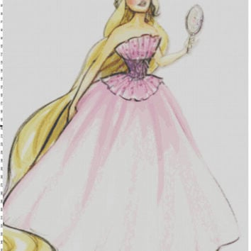 Disney Designer Princess Doll Rapunzel (Tangled) Cross Stitch Pattern PDF (Pattern Only)
