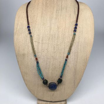 "28.9g, 2mm-20mm,Lapis Nephrite Jade Beaded Necklace @Afghanistan,28"",NPH84"