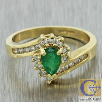 Vintage Estate 14k Solid Yellow Gold .49ctw Pear Shape Emerald Diamond Ring