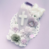 Purple Pastel Goth iPhone 6 case, purple bumper case, creepy cute phone case, kawaii decoden case, pastel goth phone case